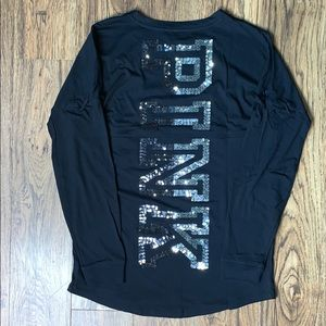 VS PINK Bling Varsity Crew Top - Black